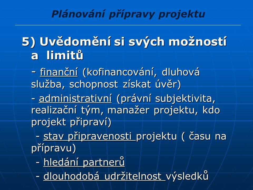5) Uvědomění si svých možností a limitů - finanční (kofinancování, dluhová služba, schopnost získat úvěr) - finanční (kofinancování, dluhová služba, s