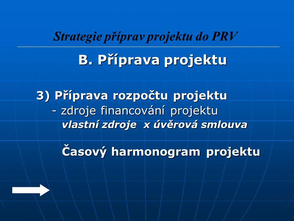 B. Příprava projektu B. Příprava projektu 3) Příprava rozpočtu projektu 3) Příprava rozpočtu projektu - zdroje financování projektu - zdroje financová