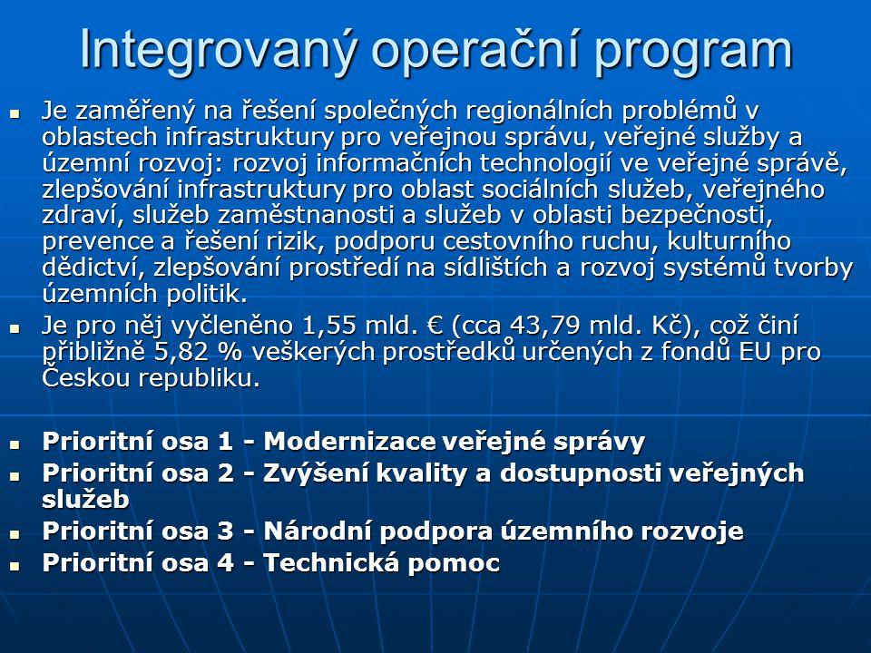 Integrovaný operační program Je zaměřený na řešení společných regionálních problémů v oblastech infrastruktury pro veřejnou správu, veřejné služby a ú