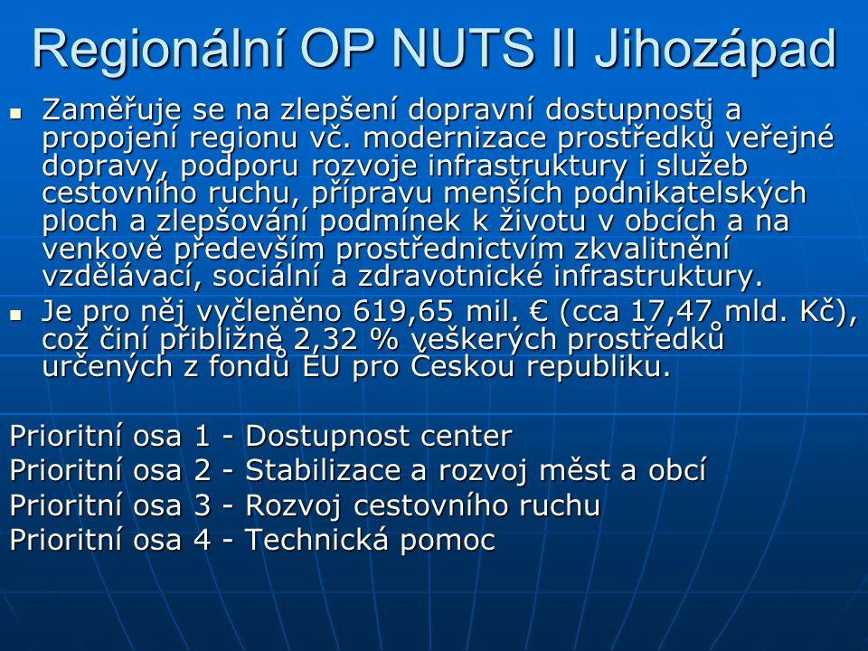 Regionální OP NUTS II Jihozápad Zaměřuje se na zlepšení dopravní dostupnosti a propojení regionu vč.