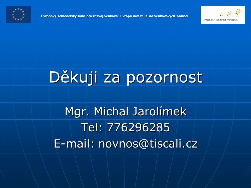 Děkuji za pozornost Mgr. Michal Jarolímek Tel: 776296285 E-mail: novnos@tiscali.cz Evropský zemědělský fond pro rozvoj venkova: Evropa investuje do ve
