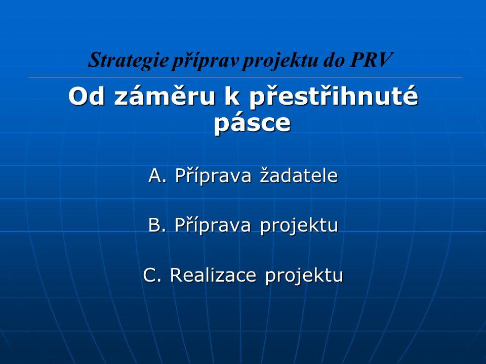 Od záměru k přestřihnuté pásce A. Příprava žadatele B. Příprava projektu C. Realizace projektu Strategie příprav projektu do PRV