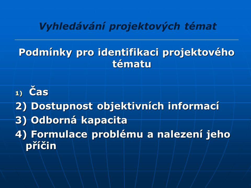 Podmínky pro identifikaci projektového tématu 1) Čas 2) Dostupnost objektivních informací 3) Odborná kapacita 4) Formulace problému a nalezení jeho př