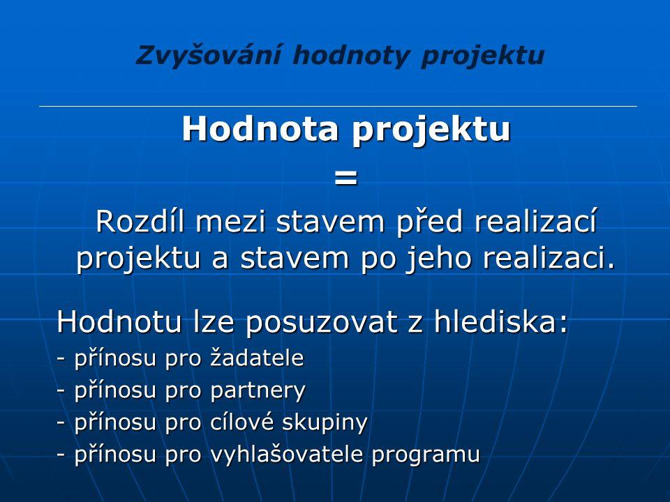 Hodnota projektu Hodnota projektu Hodnotu lze posuzovat v oblasti: Hodnotu lze posuzovat v oblasti: - finanční - finanční - ekonomické - ekonomické - sociální - sociální - politické - politické Zvyšování hodnoty projektu