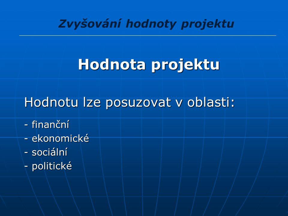Hodnota projektu Hodnota projektu Hodnotu lze posuzovat v oblasti: Hodnotu lze posuzovat v oblasti: - finanční - finanční - ekonomické - ekonomické -