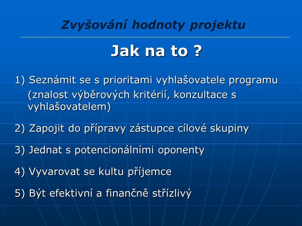 Plánování přípravy projektu 1) Formulace problému 2) Studium nabídky aktivity, které budou podporovány aktivity, které budou podporovány míra podpory (velikost projektů, kofinancování) míra podpory (velikost projektů, kofinancování) způsob podpory (zálohové, průběžné či konečné platby) způsob podpory (zálohové, průběžné či konečné platby)