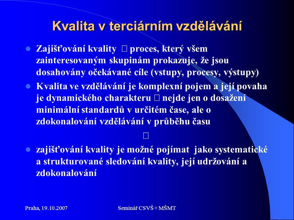 Praha, 19.10.2007Seminář CSVŠ + MŠMT Kvalita v terciárním vzdělávání Zajišťování kvality  proces, který všem zainteresovaným skupinám prokazuje, že jsou dosahovány očekávané cíle (vstupy, procesy, výstupy) Kvalita ve vzdělávání je komplexní pojem a její povaha je dynamického charakteru  nejde jen o dosažení minimální standardů v určitém čase, ale o zdokonalování vzdělávání v průběhu času  zajišťování kvality je možné pojímat jako systematické a strukturované sledování kvality, její udržování a zdokonalování