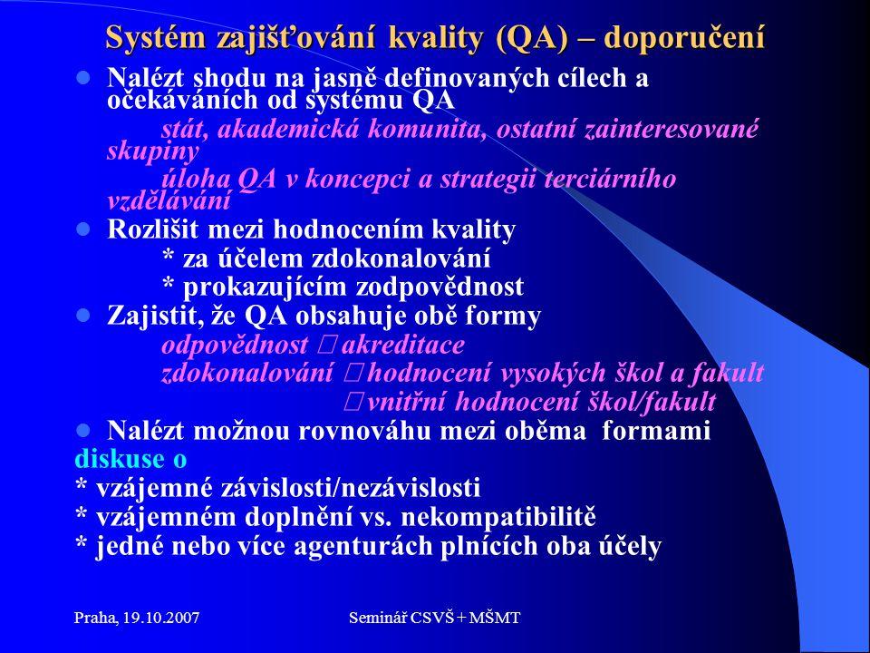 """Praha, 19.10.2007Seminář CSVŠ + MŠMT Systém zajišťování kvality (QA) – doporučení Vhodně kombinovat a provázat vnitřní a vnější mechanismy AQ důraz na vnitřní proces hodnocení kvality: * o možnosti zdokonalování nejlépe rozhodne sám hodnocený subjekt * iniciace vnitřního hodnocení je motivována skutečnými/existujícími problémy * vnitřní hodnocení je citlivé ke skutečným potřebám * vnitřní hodnocení vytváří institucionální kulturu kvality * negativa vnějšího hodnocení ** užívá konzervativní a rigidní kritéria ** byrokratický proces ** drahé, náročné na čas, na lidské zdroje ** """"hra"""
