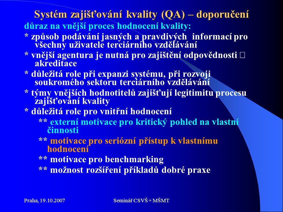 Praha, 19.10.2007Seminář CSVŠ + MŠMT Systém zajišťování kvality (QA) – doporučení důraz na vnější proces hodnocení kvality: * způsob podávání jasných a pravdivých informací pro všechny uživatele terciárního vzdělávání * vnější agentura je nutná pro zajištění odpovědnosti  akreditace * důležitá role při expanzi systému, při rozvoji soukromého sektoru terciárního vzdělávání * týmy vnějších hodnotitelů zajišťují legitimitu procesu zajišťování kvality * důležitá role pro vnitřní hodnocení ** externí motivace pro kritický pohled na vlastní činnosti ** motivace pro seriózní přístup k vlastnímu hodnocení ** motivace pro benchmarking ** možnost rozšíření příkladů dobré praxe