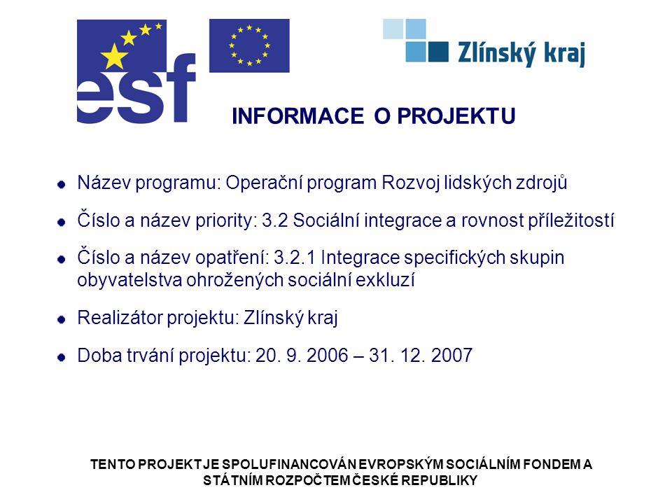 TENTO PROJEKT JE SPOLUFINANCOVÁN EVROPSKÝM SOCIÁLNÍM FONDEM A STÁTNÍM ROZPOČTEM ČESKÉ REPUBLIKY Název programu: Operační program Rozvoj lidských zdrojů Číslo a název priority: 3.2 Sociální integrace a rovnost příležitostí Číslo a název opatření: 3.2.1 Integrace specifických skupin obyvatelstva ohrožených sociální exkluzí Realizátor projektu: Zlínský kraj Doba trvání projektu: 20.