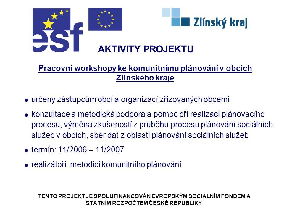TENTO PROJEKT JE SPOLUFINANCOVÁN EVROPSKÝM SOCIÁLNÍM FONDEM A STÁTNÍM ROZPOČTEM ČESKÉ REPUBLIKY AKTIVITY PROJEKTU Pracovní workshopy ke komunitnímu plánování v obcích Zlínského kraje určeny zástupcům obcí a organizací zřizovaných obcemi konzultace a metodická podpora a pomoc při realizaci plánovacího procesu, výměna zkušeností z průběhu procesu plánování sociálních služeb v obcích, sběr dat z oblasti plánování sociálních služeb termín: 11/2006 – 11/2007 realizátoři: metodici komunitního plánování