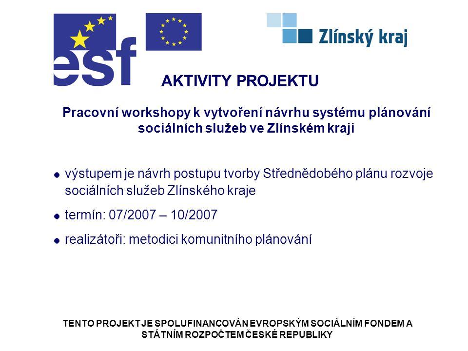 TENTO PROJEKT JE SPOLUFINANCOVÁN EVROPSKÝM SOCIÁLNÍM FONDEM A STÁTNÍM ROZPOČTEM ČESKÉ REPUBLIKY AKTIVITY PROJEKTU Pracovní workshopy k vytvoření návrhu systému plánování sociálních služeb ve Zlínském kraji výstupem je návrh postupu tvorby Střednědobého plánu rozvoje sociálních služeb Zlínského kraje termín: 07/2007 – 10/2007 realizátoři: metodici komunitního plánování
