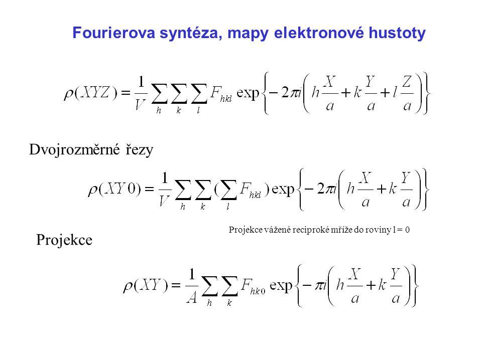 Fourierova syntéza, mapy elektronové hustoty Dvojrozměrné řezy Projekce Projekce vážené reciproké mříže do roviny l = 0