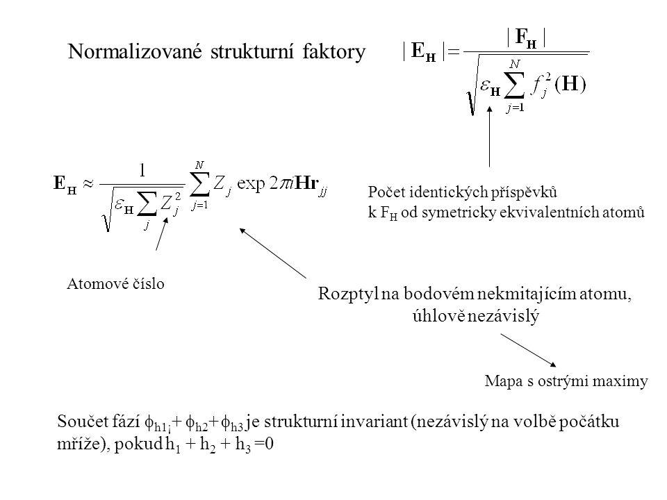 Normalizované strukturní faktory Počet identických příspěvků k F H od symetricky ekvivalentních atomů Atomové číslo Rozptyl na bodovém nekmitajícím at