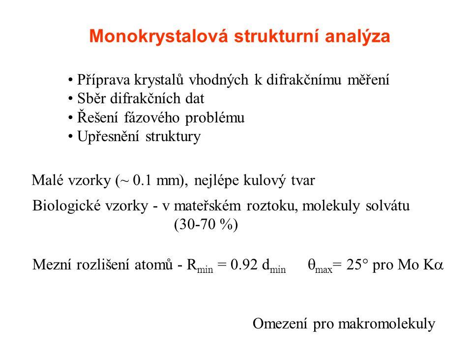 Monokrystalová strukturní analýza Příprava krystalů vhodných k difrakčnímu měření Sběr difrakčních dat Řešení fázového problému Upřesnění struktury Ma