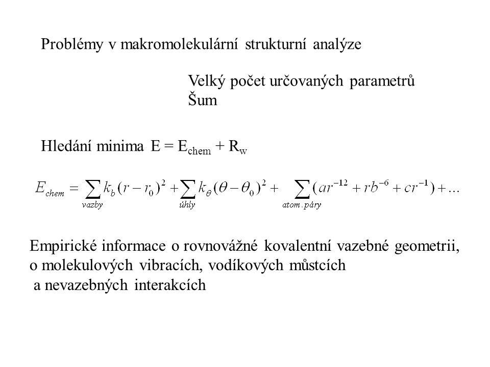 Problémy v makromolekulární strukturní analýze Velký počet určovaných parametrů Šum Hledání minima E = E chem + R w Empirické informace o rovnovážné k