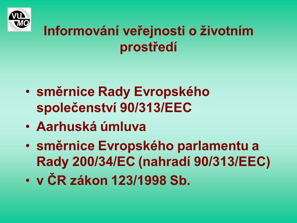 Informování veřejnosti o životním prostředí směrnice Rady Evropského společenství 90/313/EEC Aarhuská úmluva směrnice Evropského parlamentu a Rady 200/34/EC (nahradí 90/313/EEC) v ČR zákon 123/1998 Sb.