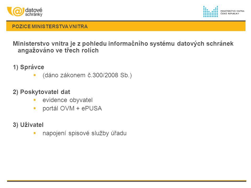 POZICE MINISTERSTVA VNITRA Ministerstvo vnitra je z pohledu informačního systému datových schránek angažováno ve třech rolích 1) Správce  (dáno zákon