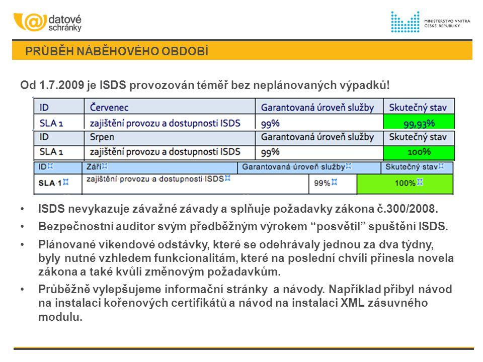 PRŮBĚH NÁBĚHOVÉHO OBDOBÍ Od 1.7.2009 je ISDS provozován téměř bez neplánovaných výpadků! ISDS nevykazuje závažné závady a splňuje požadavky zákona č.3