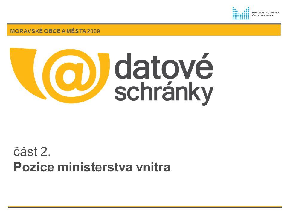 část 2. Pozice ministerstva vnitra MORAVSKÉ OBCE A MĚSTA 2009