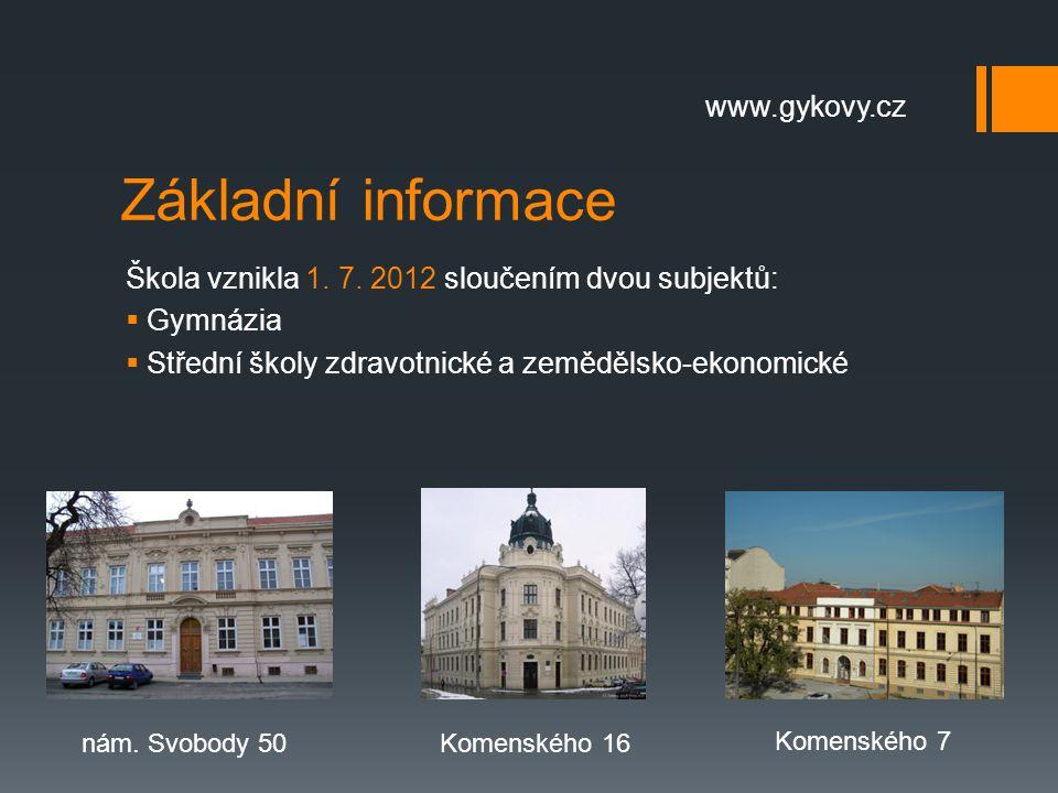 Základní informace Škola vznikla 1. 7. 2012 sloučením dvou subjektů:  Gymnázia  Střední školy zdravotnické a zemědělsko-ekonomické nám. Svobody 50Ko