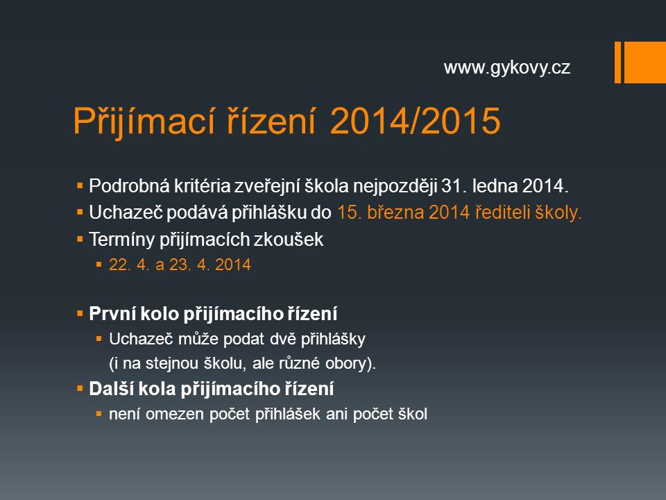 Přijímací řízení 2014/2015  Podrobná kritéria zveřejní škola nejpozději 31. ledna 2014.  Uchazeč podává přihlášku do 15. března 2014 řediteli školy.