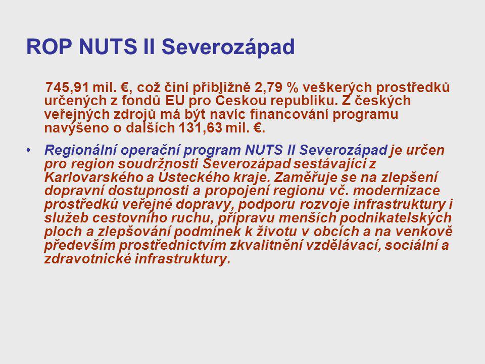 ROP NUTS II Severozápad 745,91 mil. €, což činí přibližně 2,79 % veškerých prostředků určených z fondů EU pro Českou republiku. Z českých veřejných zd