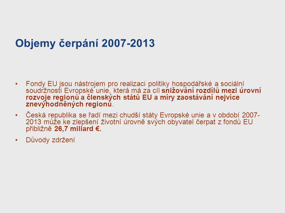 Objemy čerpání 2007-2013 Fondy EU jsou nástrojem pro realizaci politiky hospodářské a sociální soudržnosti Evropské unie, která má za cíl snižování ro