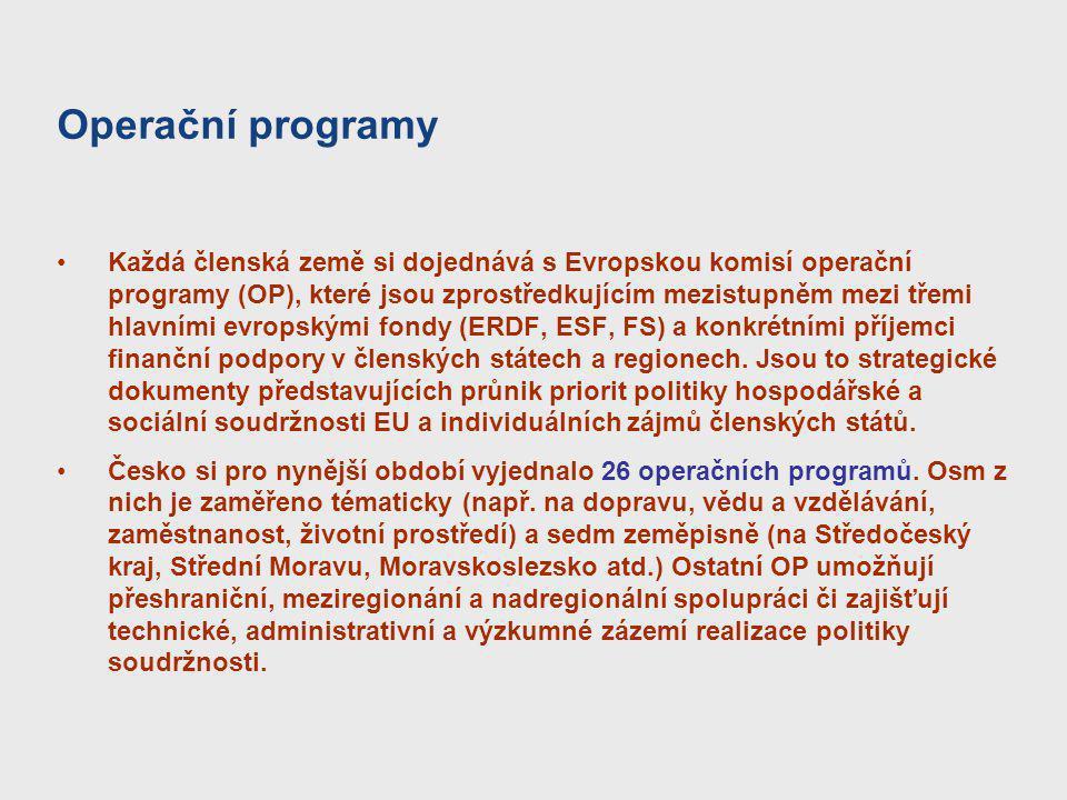Operační programy Každá členská země si dojednává s Evropskou komisí operační programy (OP), které jsou zprostředkujícím mezistupněm mezi třemi hlavní