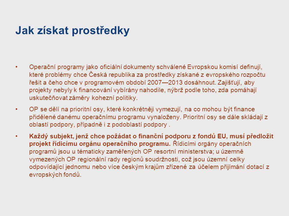Jak získat prostředky Operační programy jako oficiální dokumenty schválené Evropskou komisí definují, které problémy chce Česká republika za prostředk