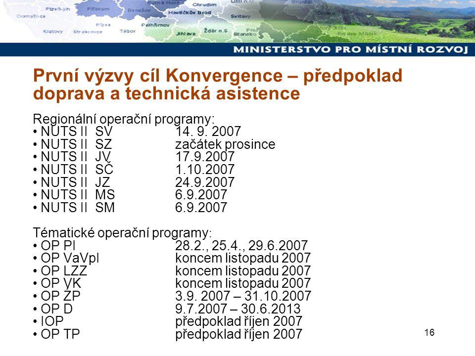 16 První výzvy cíl Konvergence – předpoklad doprava a technická asistence Regionální operační programy: NUTS II SV 14.