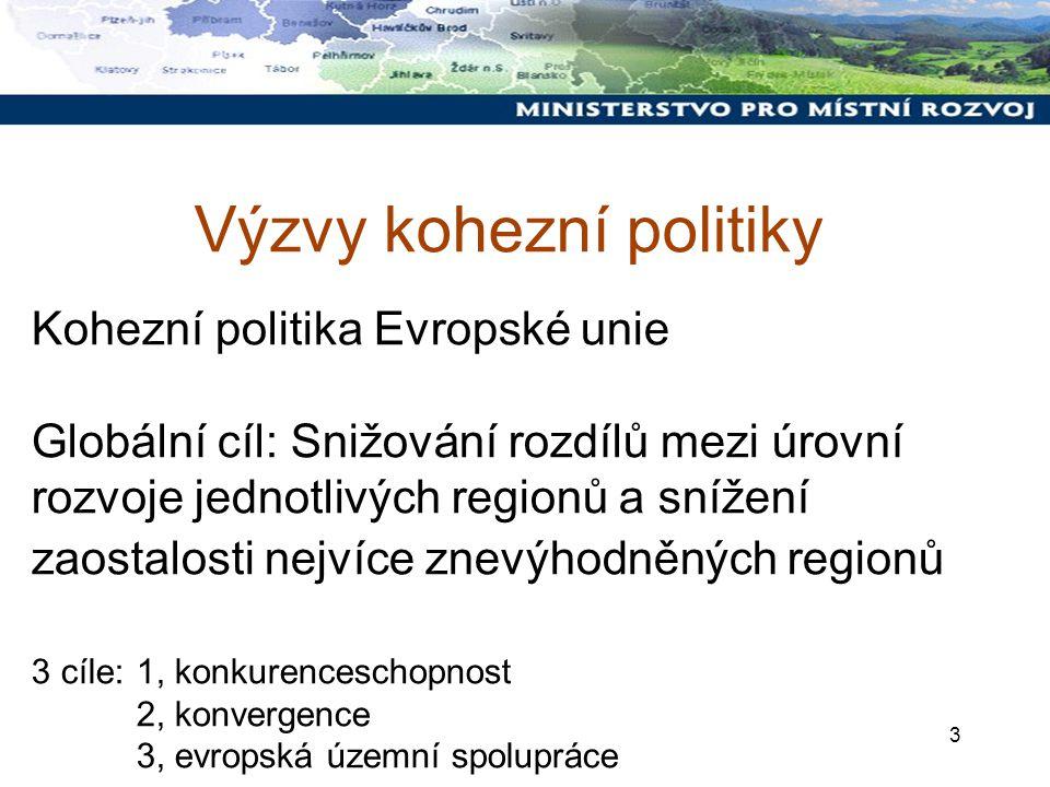 3 Kohezní politika Evropské unie Globální cíl: Snižování rozdílů mezi úrovní rozvoje jednotlivých regionů a snížení zaostalosti nejvíce znevýhodněných regionů 3 cíle: 1, konkurenceschopnost 2, konvergence 3, evropská územní spolupráce Výzvy kohezní politiky