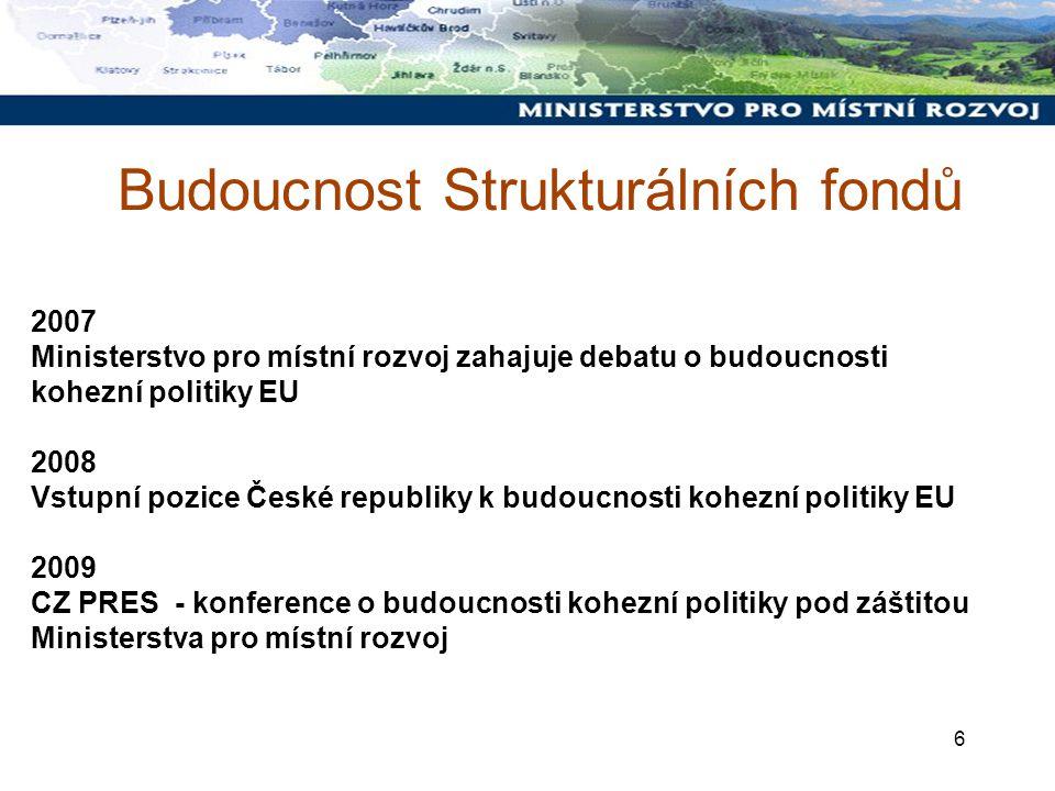 6 Budoucnost Strukturálních fondů 2007 Ministerstvo pro místní rozvoj zahajuje debatu o budoucnosti kohezní politiky EU 2008 Vstupní pozice České republiky k budoucnosti kohezní politiky EU 2009 CZ PRES - konference o budoucnosti kohezní politiky pod záštitou Ministerstva pro místní rozvoj