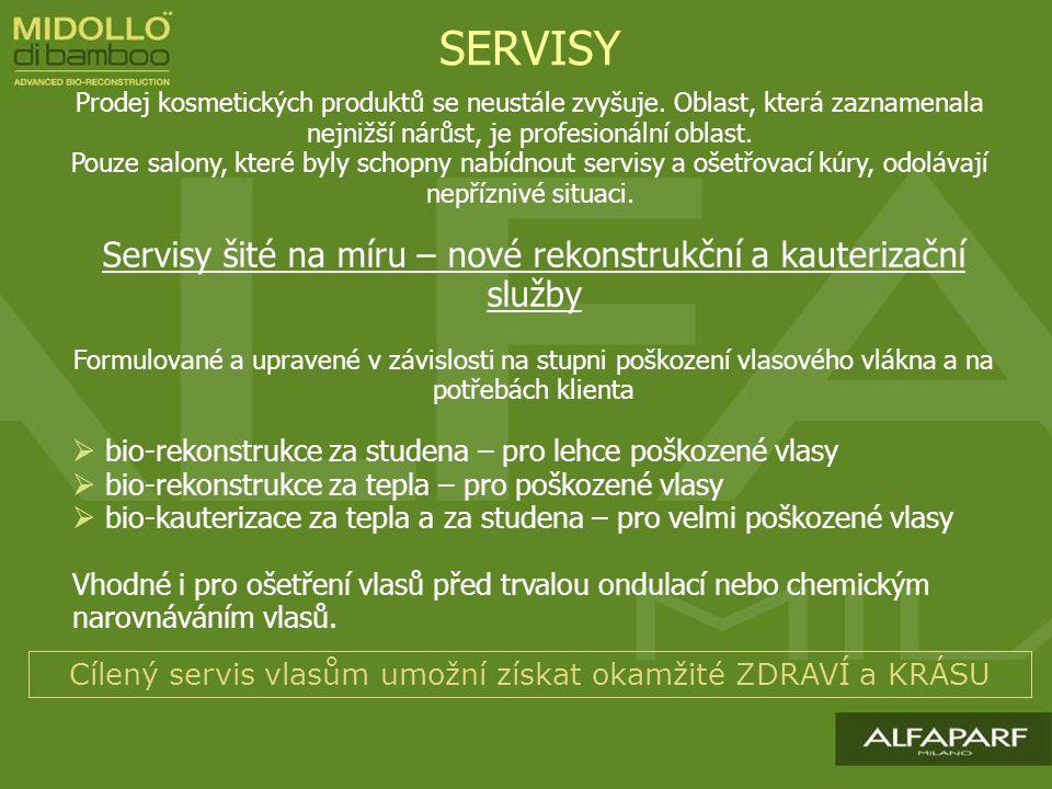 SERVISY Servisy šité na míru – nové rekonstrukční a kauterizační služby Formulované a upravené v závislosti na stupni poškození vlasového vlákna a na