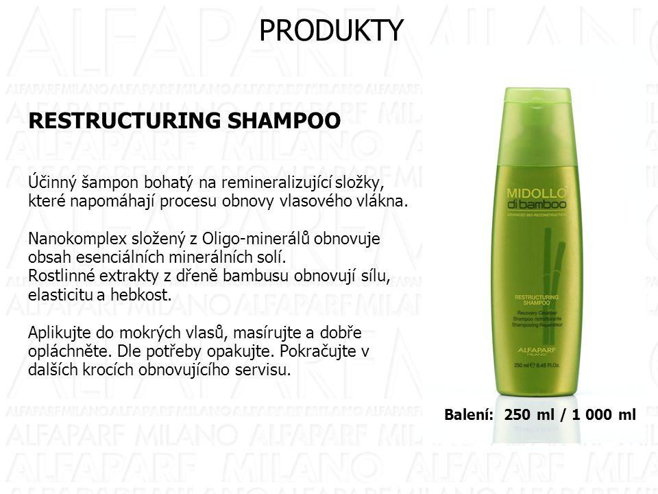 RESTRUCTURING SHAMPOO Účinný šampon bohatý na remineralizující složky, které napomáhají procesu obnovy vlasového vlákna. Nanokomplex složený z Oligo-m