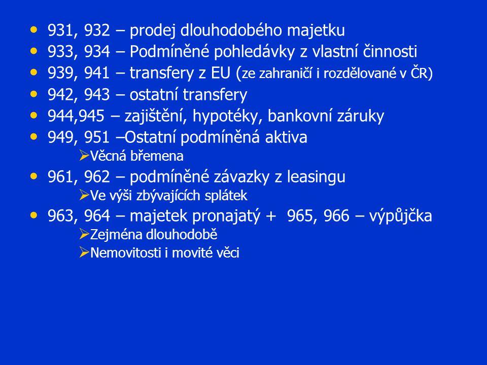 931, 932 – prodej dlouhodobého majetku 933, 934 – Podmíněné pohledávky z vlastní činnosti 939, 941 – transfery z EU ( ze zahraničí i rozdělované v ČR)