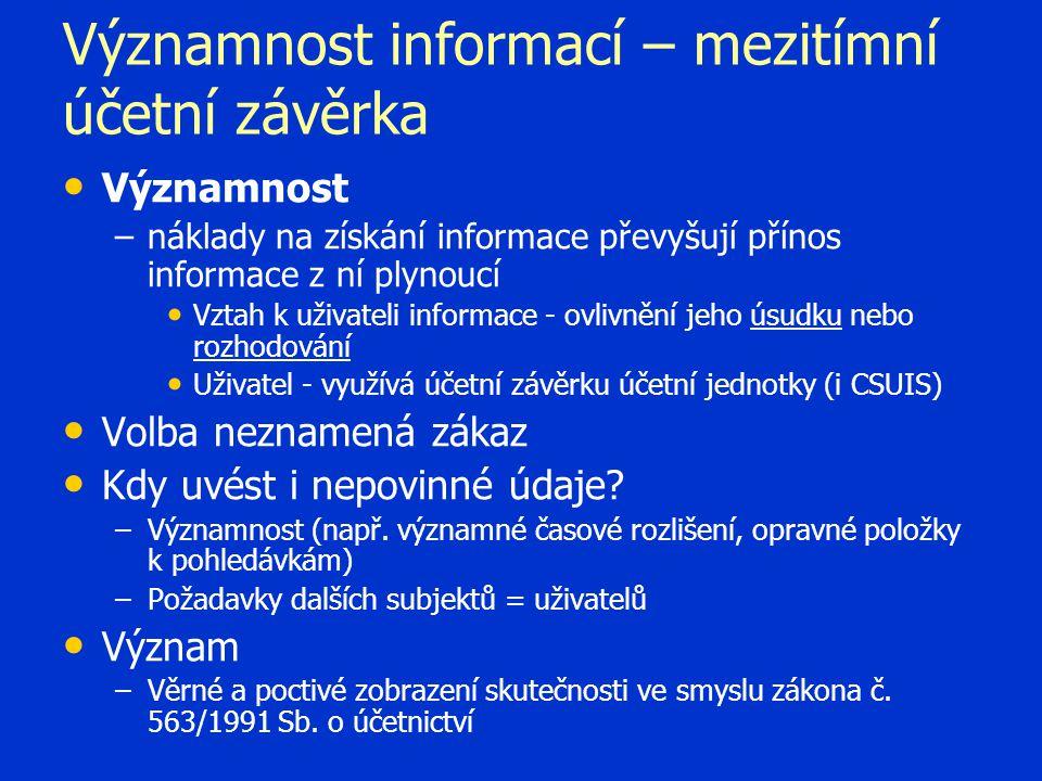 Významnost informací – mezitímní účetní závěrka Významnost – –náklady na získání informace převyšují přínos informace z ní plynoucí Vztah k uživateli