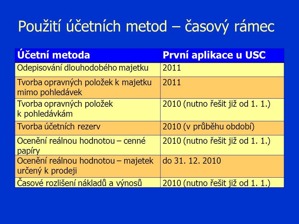 Použití účetních metod – časový rámec Účetní metodaPrvní aplikace u USC Odepisování dlouhodobého majetku2011 Tvorba opravných položek k majetku mimo p