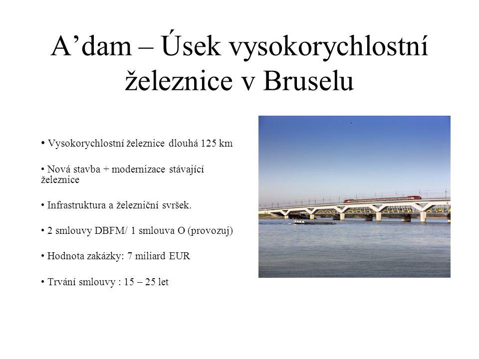 A'dam – Úsek vysokorychlostní železnice v Bruselu Vysokorychlostní železnice dlouhá 125 km Nová stavba + modernizace stávající železnice Infrastruktura a železniční svršek.