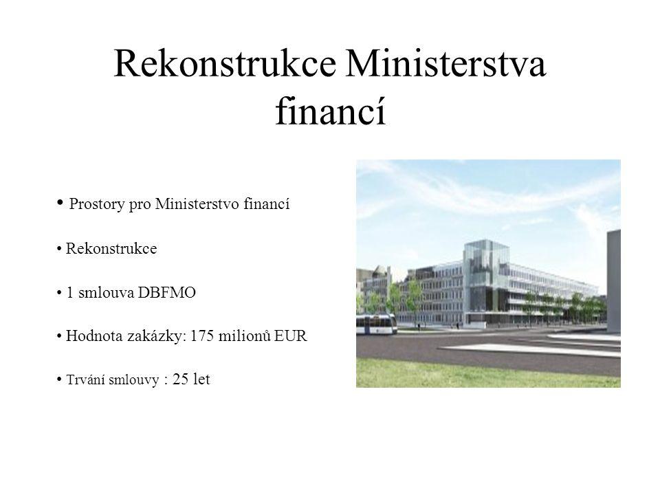 Rekonstrukce Ministerstva financí Prostory pro Ministerstvo financí Rekonstrukce 1 smlouva DBFMO Hodnota zakázky: 175 milionů EUR Trvání smlouvy : 25 let