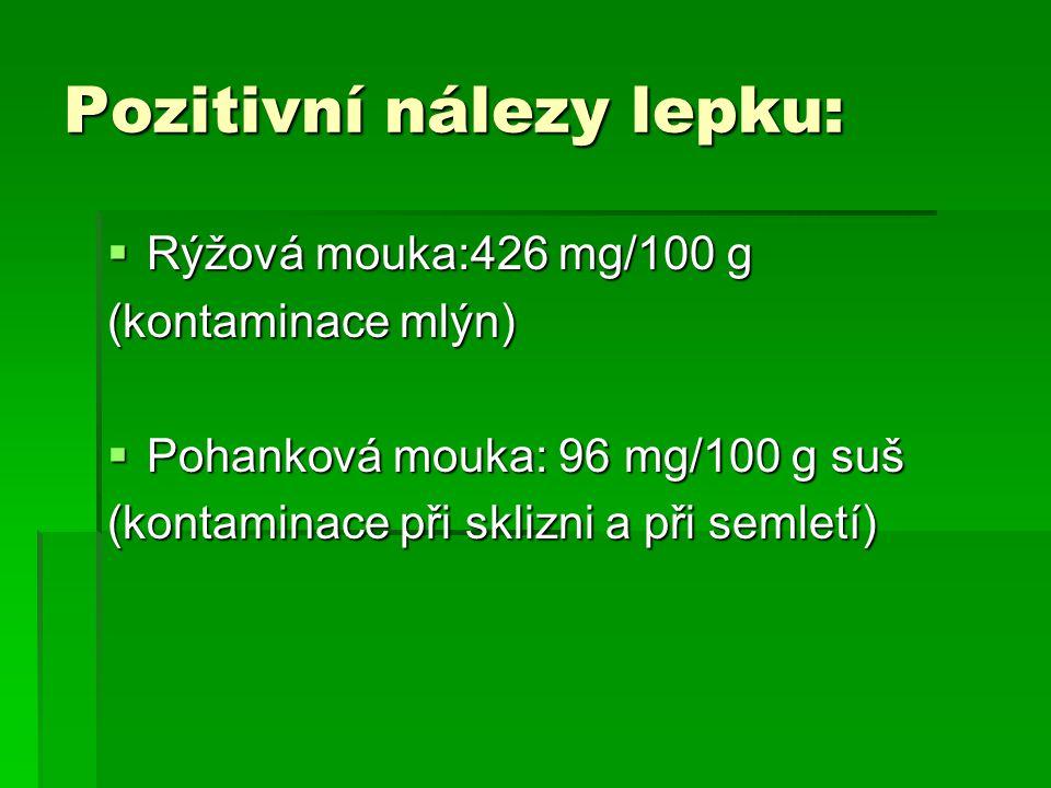 Pozitivní nálezy lepku:  Rýžová mouka:426 mg/100 g (kontaminace mlýn)  Pohanková mouka: 96 mg/100 g suš (kontaminace při sklizni a při semletí)