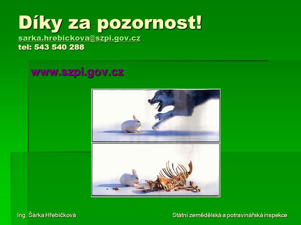 Díky za pozornost! sarka.hrebickova@szpi.gov.cz tel: 543 540 288 sarka.hrebickova@szpi.gov.cz www.szpi.gov.cz Ing. Šárka Hřebíčková Státní zemědělská