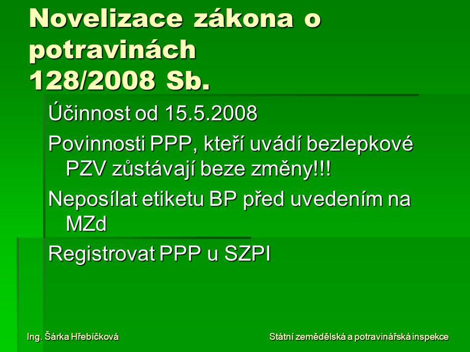 Novelizace zákona o potravinách 128/2008 Sb. Účinnost od 15.5.2008 Povinnosti PPP, kteří uvádí bezlepkové PZV zůstávají beze změny!!! Neposílat etiket