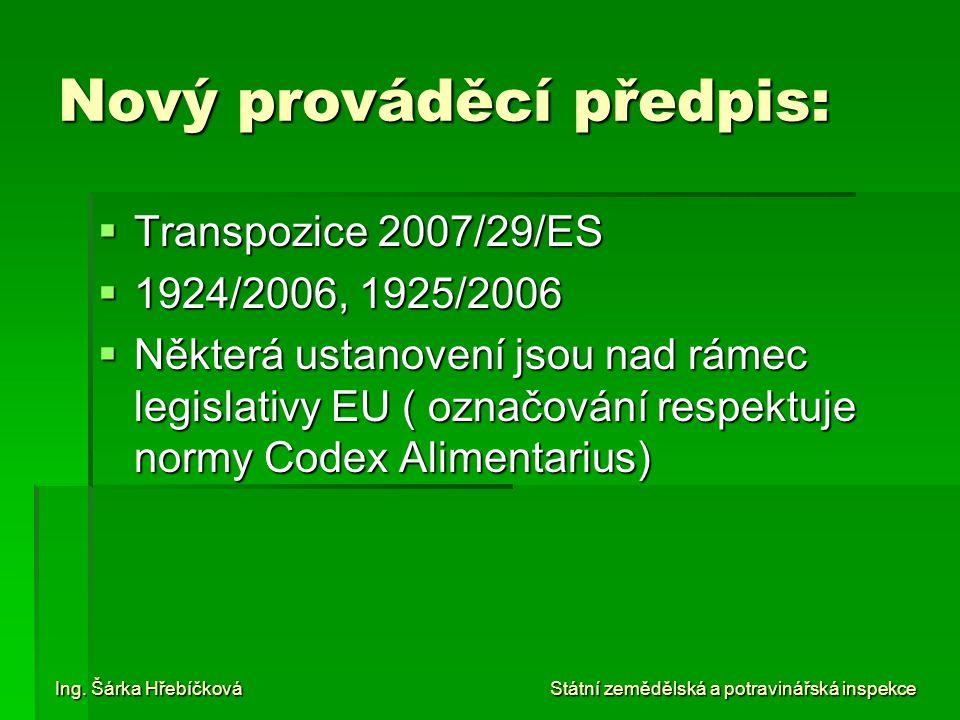 Nový prováděcí předpis:  Transpozice 2007/29/ES  1924/2006, 1925/2006  Některá ustanovení jsou nad rámec legislativy EU ( označování respektuje nor