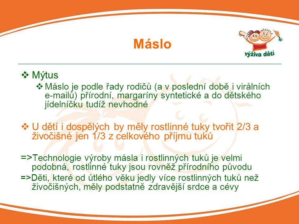 Máslo  Mýtus  Máslo je podle řady rodičů (a v poslední době i virálních e-mailů) přírodní, margaríny syntetické a do dětského jídelníčku tudíž nevho