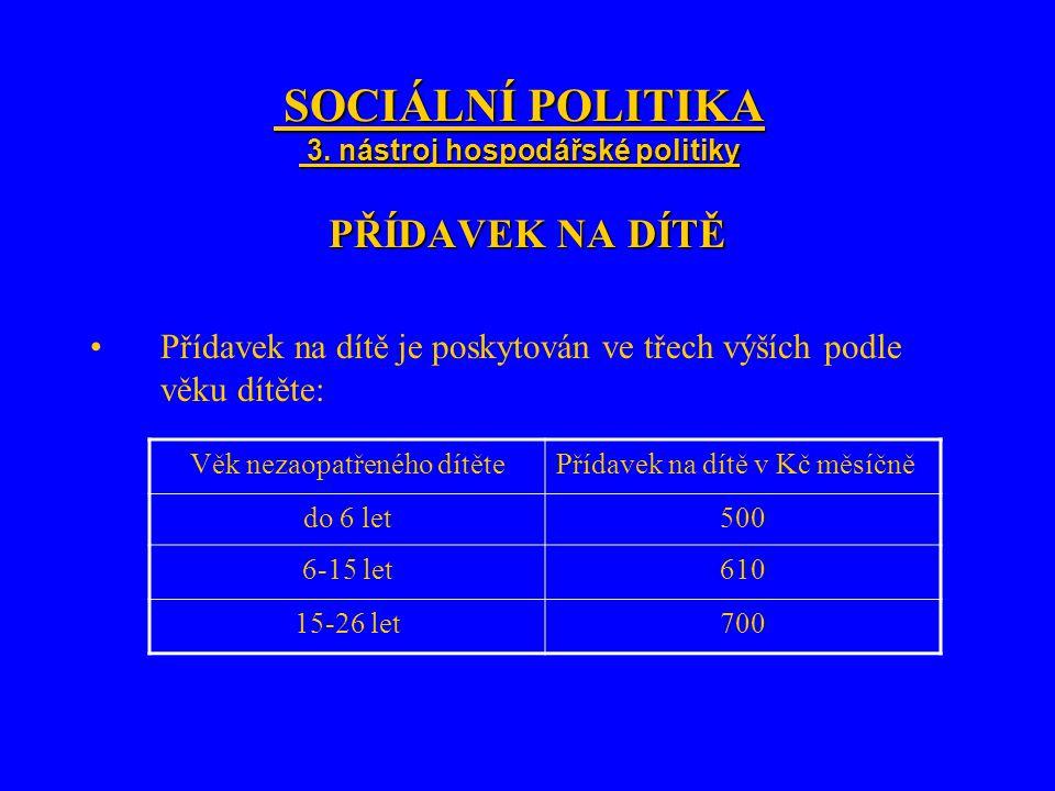 SOCIÁLNÍ POLITIKA 3. nástroj hospodářské politiky SOCIÁLNÍ POLITIKA 3. nástroj hospodářské politiky PŘÍDAVEK NA DÍTĚ Přídavek na dítě je poskytován ve
