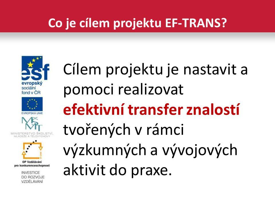 Cílem projektu je nastavit a pomoci realizovat efektivní transfer znalostí tvořených v rámci výzkumných a vývojových aktivit do praxe.