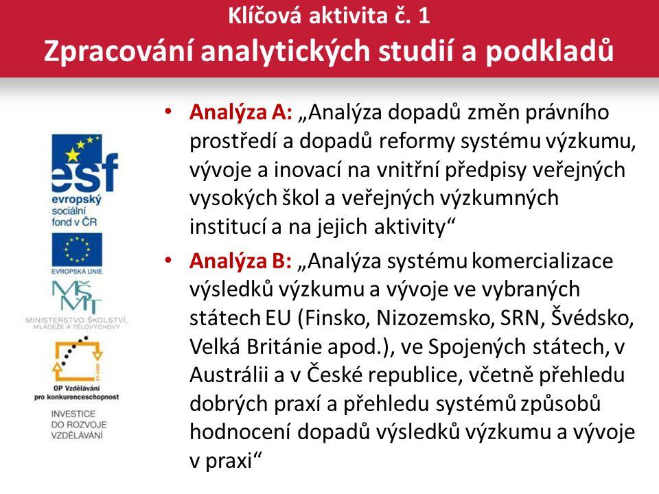 """Analýza A: """"Analýza dopadů změn právního prostředí a dopadů reformy systému výzkumu, vývoje a inovací na vnitřní předpisy veřejných vysokých škol a veřejných výzkumných institucí a na jejich aktivity Analýza B: """"Analýza systému komercializace výsledků výzkumu a vývoje ve vybraných státech EU (Finsko, Nizozemsko, SRN, Švédsko, Velká Británie apod.), ve Spojených státech, v Austrálii a v České republice, včetně přehledu dobrých praxí a přehledu systémů způsobů hodnocení dopadů výsledků výzkumu a vývoje v praxi Klíčová aktivita č."""
