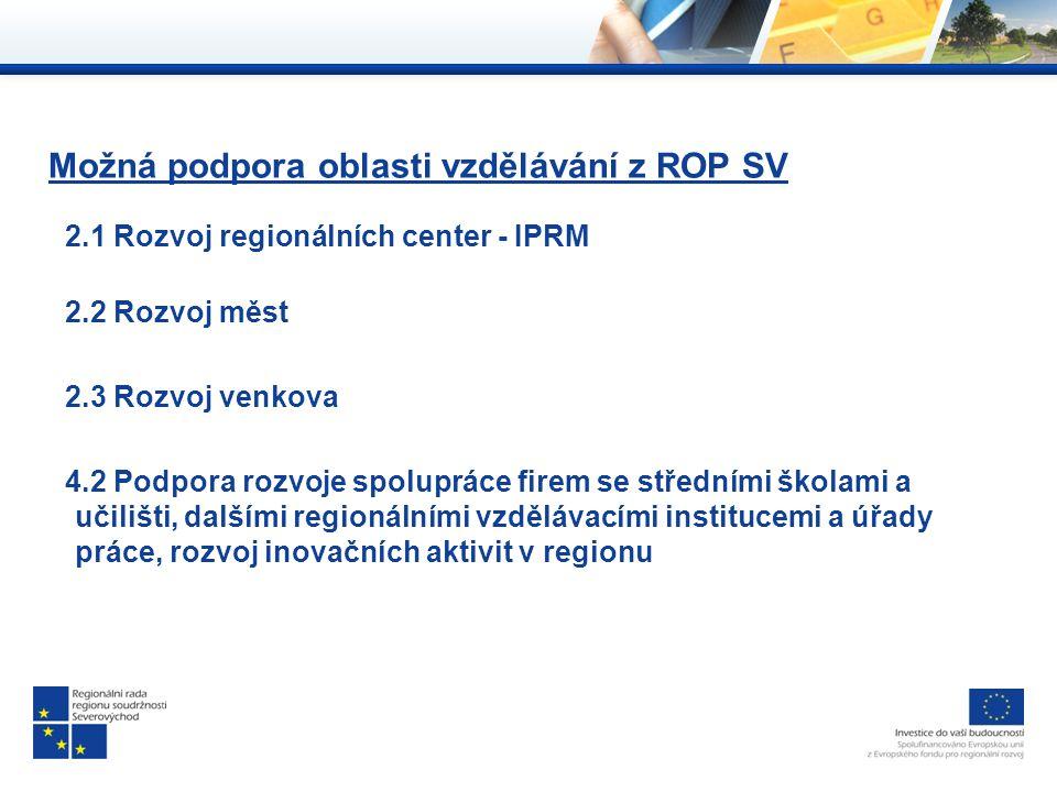 Možná podpora oblasti vzdělávání z ROP SV 2.1 Rozvoj regionálních center - IPRM 2.2 Rozvoj měst 2.3 Rozvoj venkova 4.2 Podpora rozvoje spolupráce firem se středními školami a učilišti, dalšími regionálními vzdělávacími institucemi a úřady práce, rozvoj inovačních aktivit v regionu