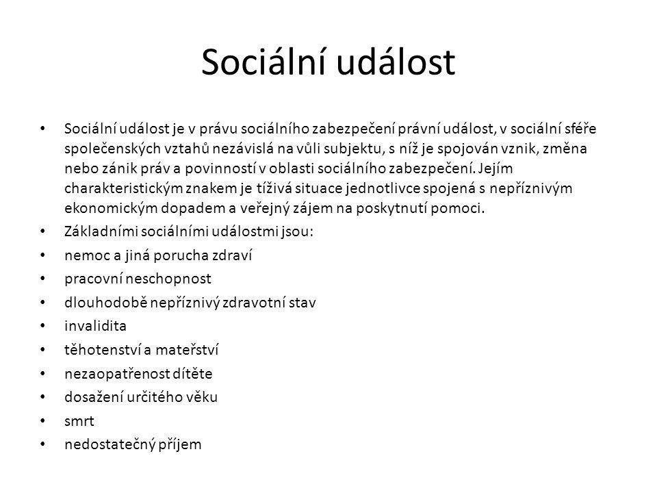 Sociální událost Sociální událost je v právu sociálního zabezpečení právní událost, v sociální sféře společenských vztahů nezávislá na vůli subjektu, s níž je spojován vznik, změna nebo zánik práv a povinností v oblasti sociálního zabezpečení.